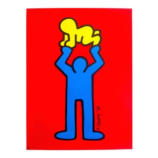"Keith Haring Estate Rare 1991 Lithograph Print Collector's Pop Art Poster "" Man & Radiant Baby "" 1988 For Sale"