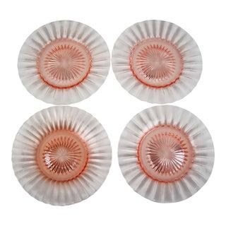 Pink Starburst Glass Salad Plates - Set of 4 For Sale