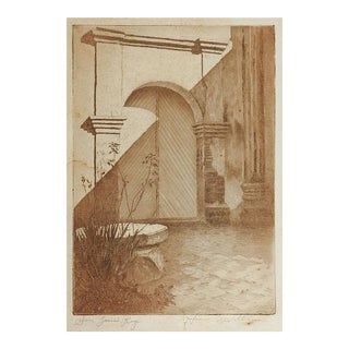 San Luis Rey Mission Etching by Homer R Williams For Sale