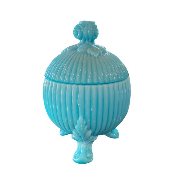 Portieux Vallerysthal Blue Opaline Candy Dish For Sale In Dallas - Image 6 of 6
