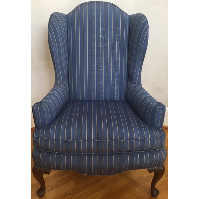 Late 20th Century 20th Century Queen Anne Blue With Gold Pin Stripe Damask Wingback Chair For Sale - Image 5 of 8