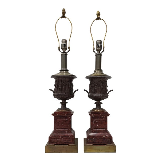 Vintage Classical Roman Bronze Urns & Marble Table Lamps - a Pair For Sale