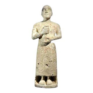 Stone Sculpture of a Sumerian Priest For Sale