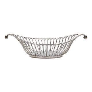 English Art Deco Silver Plate Bread Basket For Sale