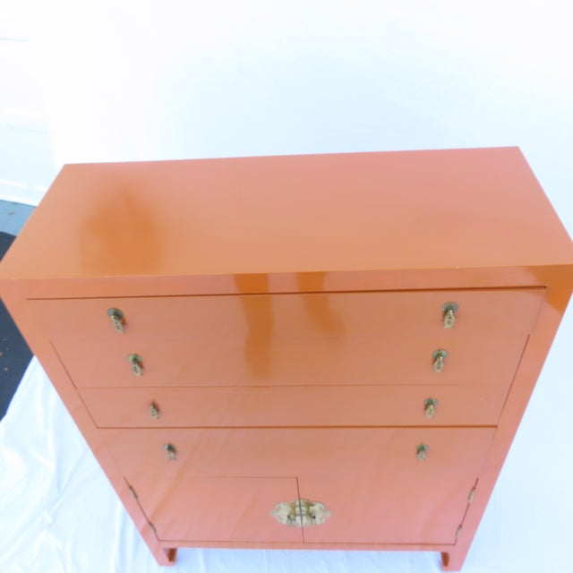 Vtg 1970s Chinese Lacquered Burnt Orange Tall Chest Dresser Cabinet Hong Kong For Sale - Image 11 of 13