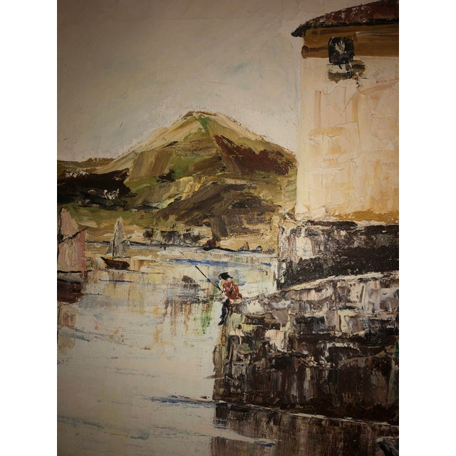 Nautical Painting of French Seaside Fishing Village For Sale - Image 4 of 9