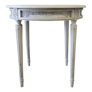 Vintage French Louis XVI Style Cane Round Side Table For Sale