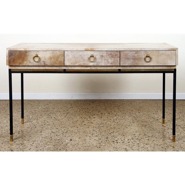 Metal 1950s Parchment Top With Brass and Steel Legs Console For Sale - Image 7 of 7