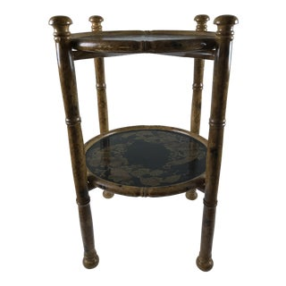 Vintage Asian Faux Bamboo Side Occasional Japanned Table For Sale