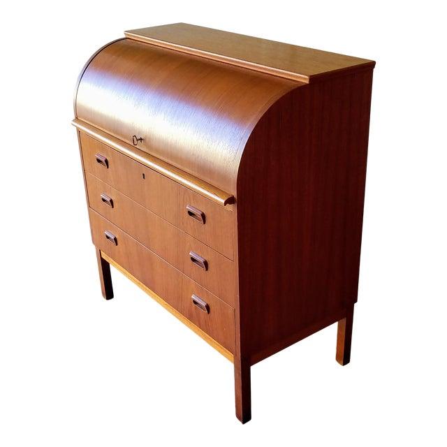 1960s Egon Ostergaard Teak Roll-Top Writing Desk For Sale