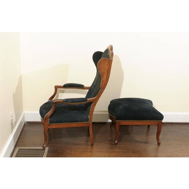 Antique Italian Wing Chair and Ottoman - Image 7 of 8