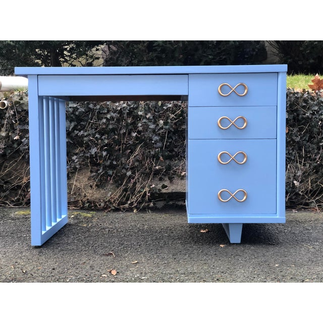 Wood 1950s Mid Century Modern Writing Desk For Sale - Image 7 of 7