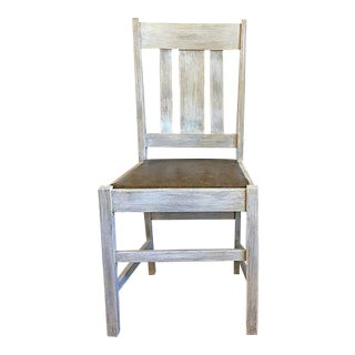 Rustic Faux Leather Seat Wood Chair