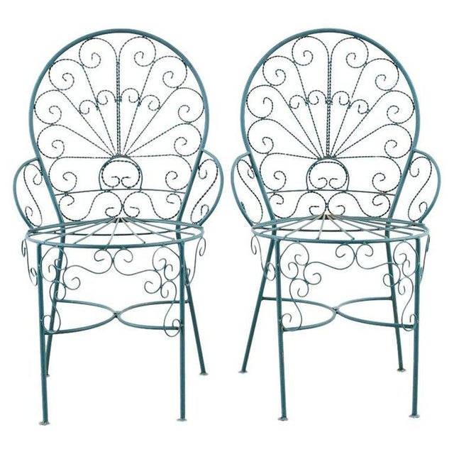 Pair of Salterini Style Iron Garden Patio Chairs For Sale - Image 13 of 13
