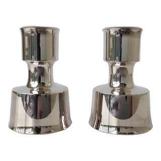 Jens Quistgaard Silverplate Candle Holders - A Pair For Sale