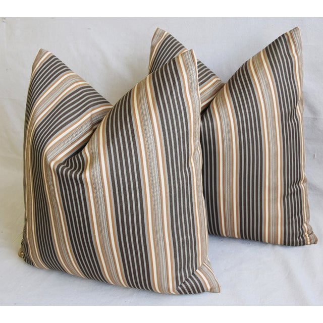 "Cotton French Striped Ticking Feather/Down Pillows 24"" Square - Pair For Sale - Image 7 of 11"