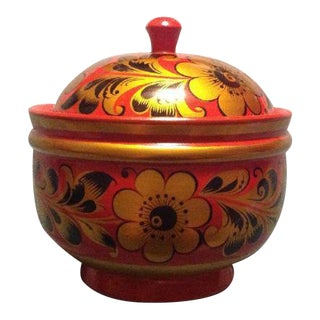 Russian Khokhloma Hand Painted Wooden Lacquered Box