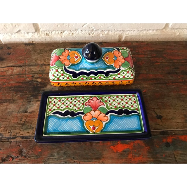 Talavera Mexican Pottery Covered Butter Dish For Sale - Image 4 of 6