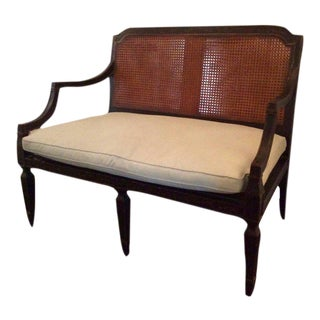 Louis XVI French Carved Wood Settee, Custom Upholstered in Linen