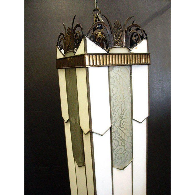 Large Art Deco Geometric Leaded Glass Chandelier with Scrolling Top - Image 2 of 4