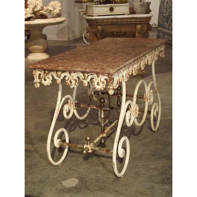 Fantastic 19th Century Iron and Bronze French Butchers Display Table With Rosso Verona Marble Top For Sale - Image 4 of 13