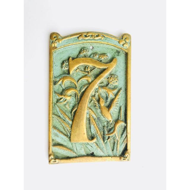 Celadon Vintage « 7 » Plaque House Number Brass For Sale - Image 8 of 8