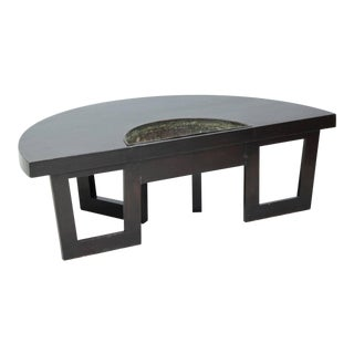 Harvey Probber Semi Circle Coffee Table with Inserted Copper Planter For Sale