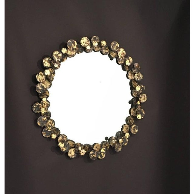 "A Steel and brass Brutalist studio mirror by American Sculptor John De La Rosa. Dim: 33"" in diameter 3"" deep."