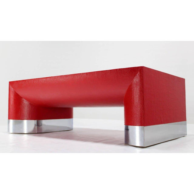 Large Rectangle Grass Cloth Mid-Century Modern Coffee Table in Fire Red For Sale - Image 4 of 8