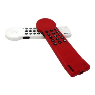 1980s Red Swisstel Postmodern Bendable Telephone For Sale
