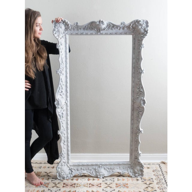 Vintage Extra Large Ornate White Picture Frame | Chairish