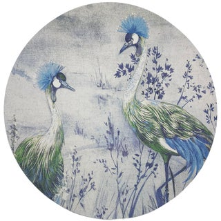 "Nicolette Mayer Crested Crane Ice 16"" Round Pebble Placemats, Set of 4 For Sale"
