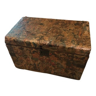 Antique Victorian Decoupaged Wooden Trunk For Sale