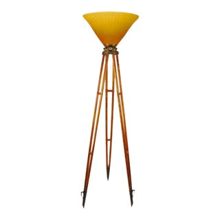 Contemporary Tripod Torchiere with French Daum Style Etched Glass For Sale