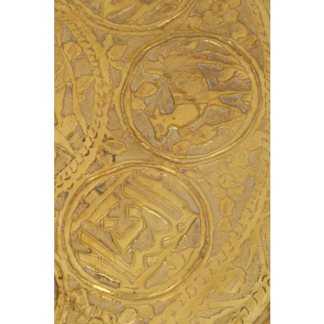 Large Hand-Crafted Decorative Persian Hammered Brass Tray For Sale - Image 4 of 10