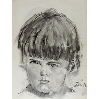 1972 Portrait Drawing of Young Boy by Winston For Sale