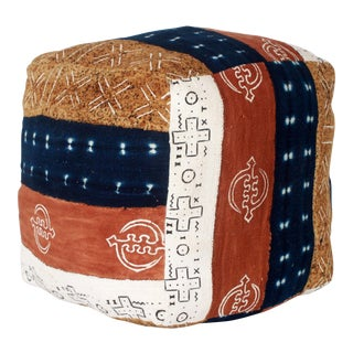 African Mud Cloth & Indigo Soft Sided Pouf For Sale
