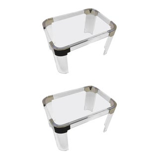 Pair of Acrylic and Nickel Side Tables by Charles Hollis Jones For Sale