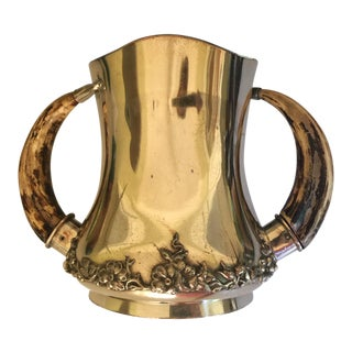 Antique Silverplate Trophy Vase With Antler Handles For Sale