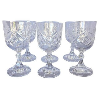 Vintage French Cut Crystal Wine Glasses - Set of 6 For Sale