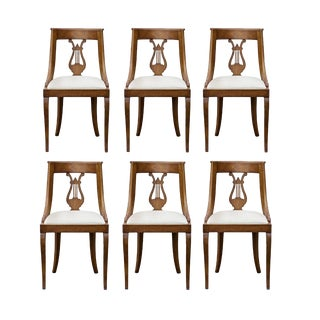 Set of 6 Neoclassical Style Lyre Back Chairs For Sale