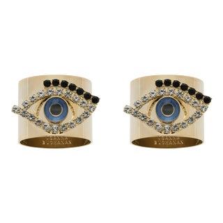 Evil Eye Napkin Rings, Set of Two For Sale