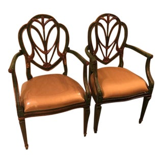Sarreid Green & Gold Arm Chairs - A Pair For Sale