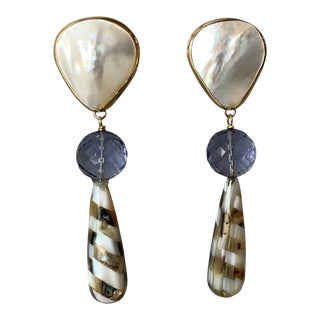 14-Karat Gold Shell Drop Earrings For Sale