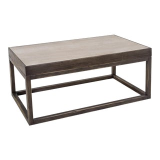 Wooden W/ Inset Travertine Top Cocktail Table For Sale
