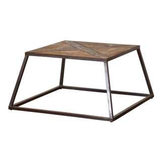 1940s Industrial Wood Top Table With Metal Base For Sale