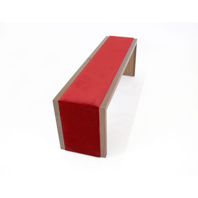 Walnut Bench With Red Velvet Upholstered Seat - Image 5 of 7