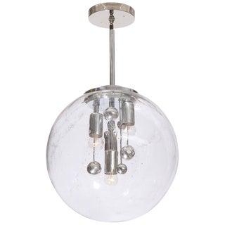 Vintage Large Murano Glass Polished Metal Globe Pendant Light For Sale