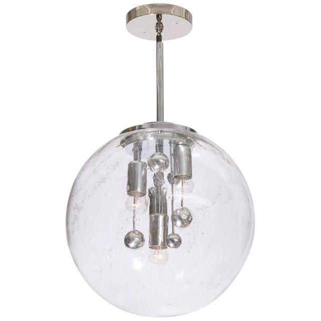 Vintage Large Murano Glass Polished Metal Globe Pendant Light