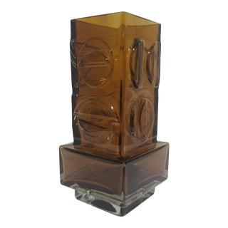 1970s Pentti Sarpaneva for Kumela Finnish Modernist Amber Glass Vase For Sale